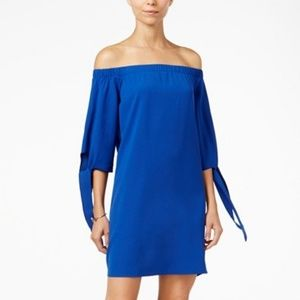 Bar III Off-the-shoulder, Tie-sleeve Shift Dress S